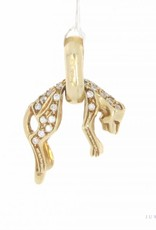 Vintage 14 carat gold hanging panther pendant with zirconia