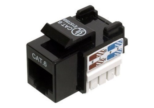 CAT6 Keystone RJ45 unshielded zwart