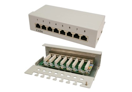Cat6 8 Port Patch Panel RAL 7035