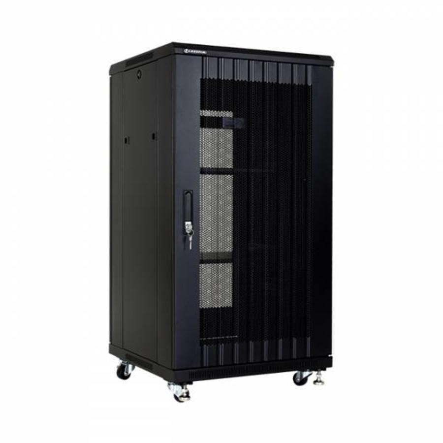 22U serverkast met geperforeerde deuren 600x800x1166mm (BxDxH)