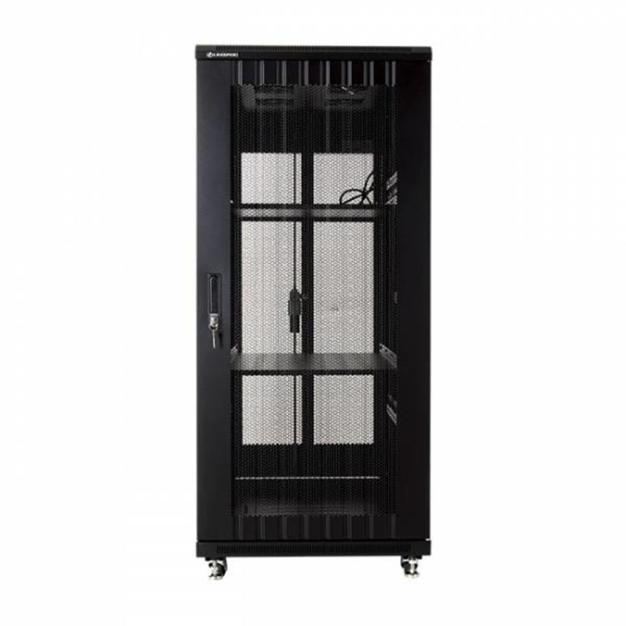 27U serverkast met geperforeerde deuren 600x1000x1388mm (BxDxH)