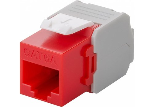 CAT6a Keystone RJ45 unshielded rood