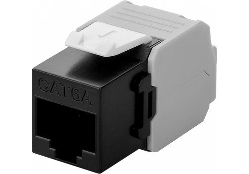 CAT6a Keystone RJ45 unshielded zwart