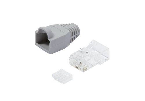 Cat6 Connector RJ45 With Strain Relief Boot Unshielded 100pcs