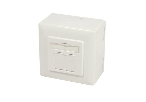 Cat6a Wall Outlet UP+AP 2x RJ45 STP RAL9010 White