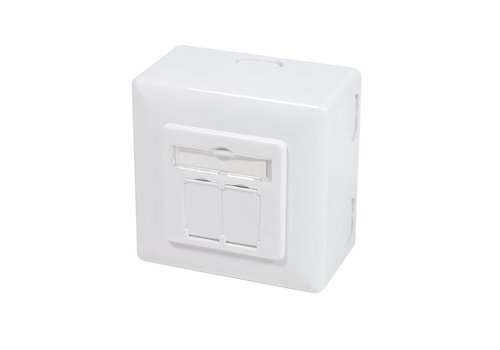 Cat6a Wall Outlet UP+AP 2x RJ45 STP RAL9003 White