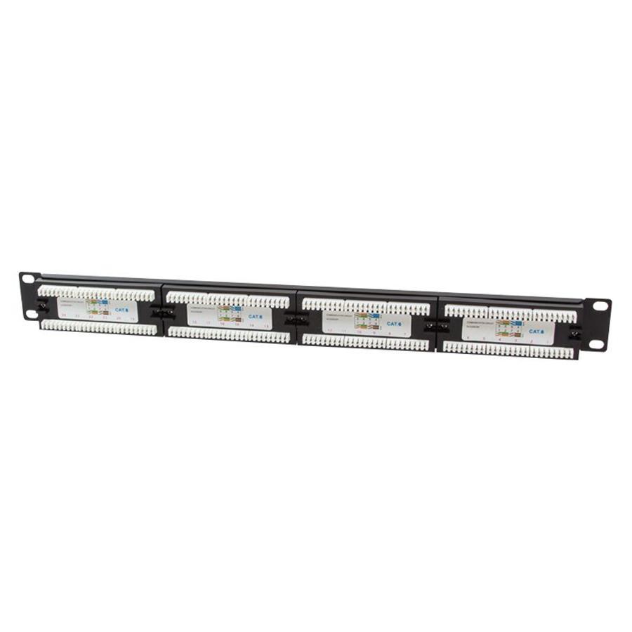 """Cat 6, UTP 1U patchpaneel, 24- poort RJ45, voor 19"""" serverkasten"""