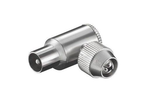 COAX hoek plug 9,5 mm metaal