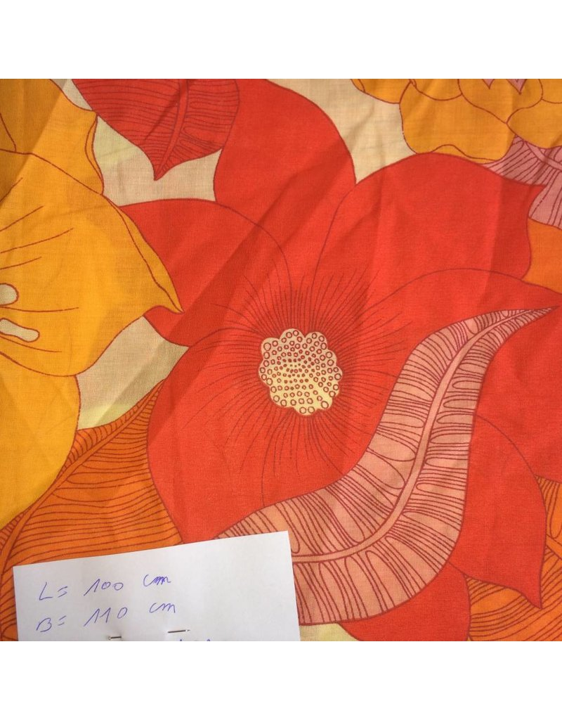 stof lichte katoen grote oranje bloemen