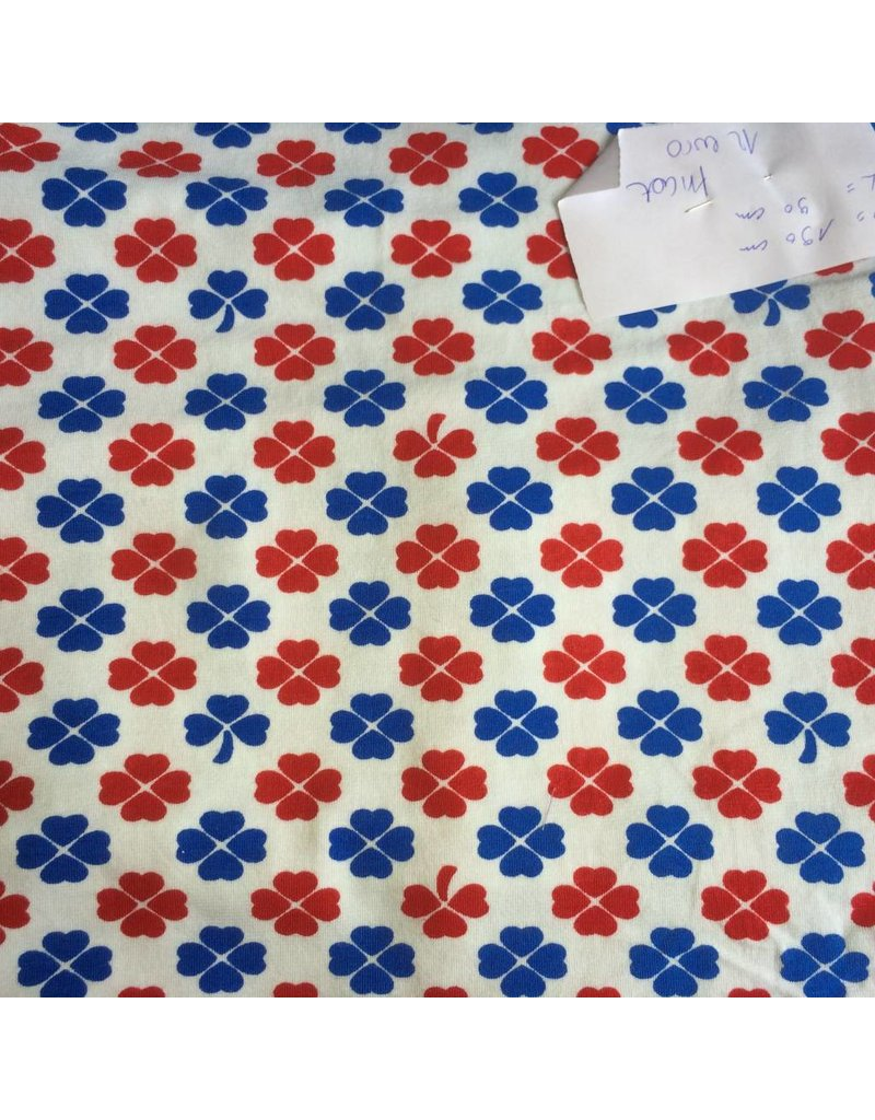 stof tricot blauw rood