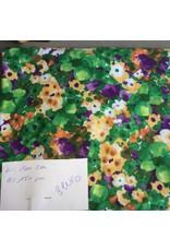 stof tricot bloemen groen paars