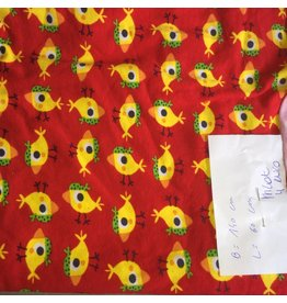 stof tricot vogeltjes op rood