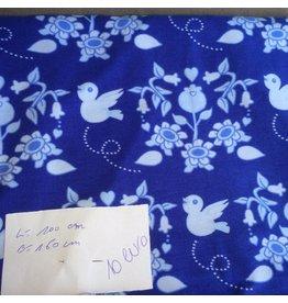 stof tricot vogeltje en bloemen