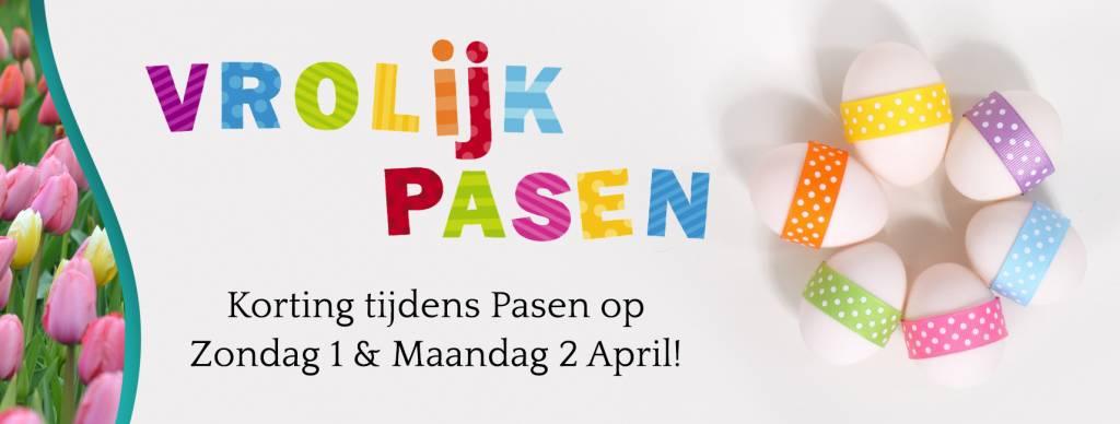 Korting tijdens Pasen op zondag 1 en maandag 2 april 2018!