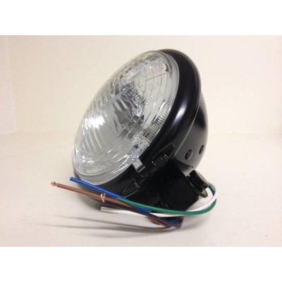 """5.75"""" Cafe Racer Headlight H4, black, E-mark"""