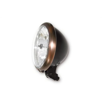 """5.75"""" Cafe Racer Headlight H4, Copper & Black, E-mark"""