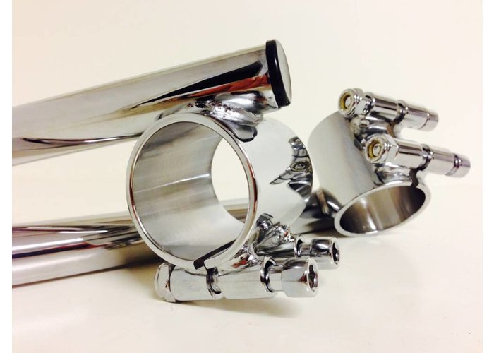 "1"" or 25.4MM Chrome Cafe Racer Clipons 41mm"