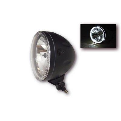 """Bottom Mount 5.75"""" Halo Cafe Racer Headlight H4, Black, E-mark"""