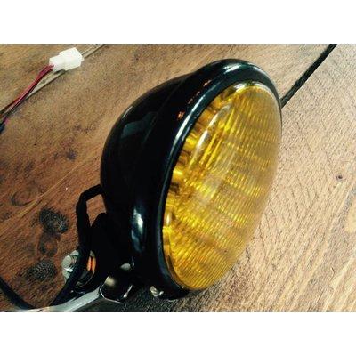 "5"" Oldskool Cafe Racer Headlight Black & Yellow"