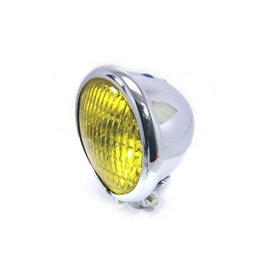 "Motorcycles United 4.75"" Bates Style Chopper Headlight Chrome & Yellow"