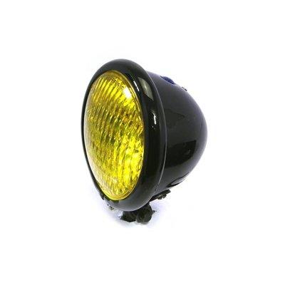 "Motorcycles United 4.75"" Chopper Headlight ""Bates"" Black & Yellow"