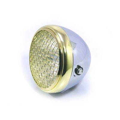 "MCU 7.7"" Scrambler Headlight Brass & Chrome"