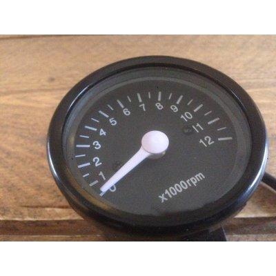 Tachometer 12.000 RPM Black
