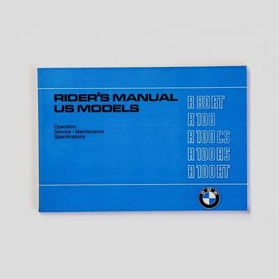 Rider's handbook R80/7 R100T R100RT R100S R100RS 9/78-9/80, printed in english language