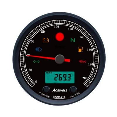 Acewell CA085 210 KM/H Speedo Black/Black.
