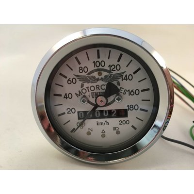 Motorcycles United 60MM BMW Speedometer Chrome/White + 4 extra functions