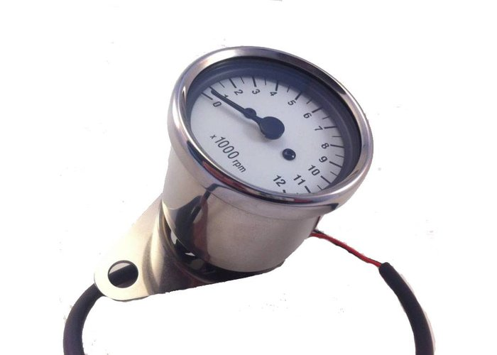 1: 7 Mechanical (cable) Tachometer White / Chrome