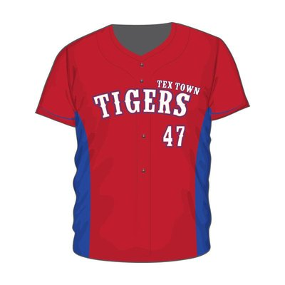 Wally Wear Tex Town Tigers Full Button Jersey