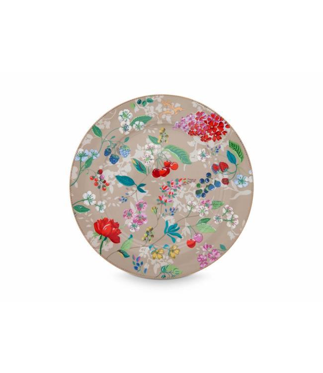 Pip Studio Floral onderbord Hummingbirds 32 cm Khaki