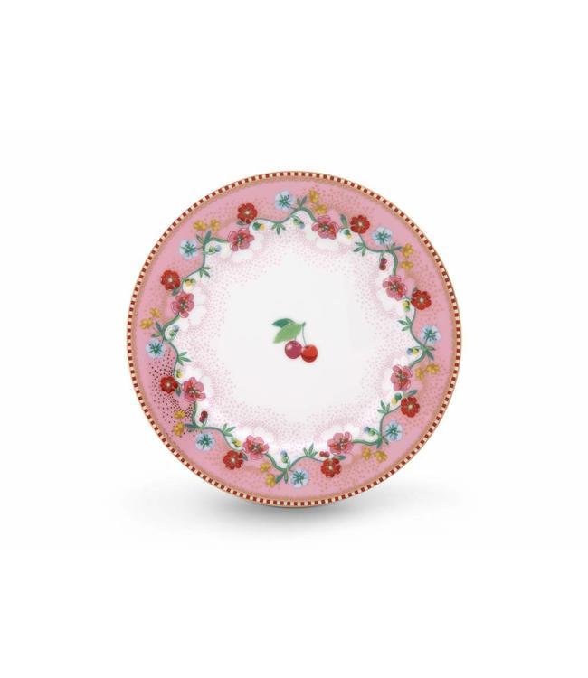 Pip Studio Floral gebaksbordje Cherry 17 cm Roze