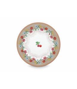 Pip Studio Floral gebaksbordje Cherry 17 cm Khaki