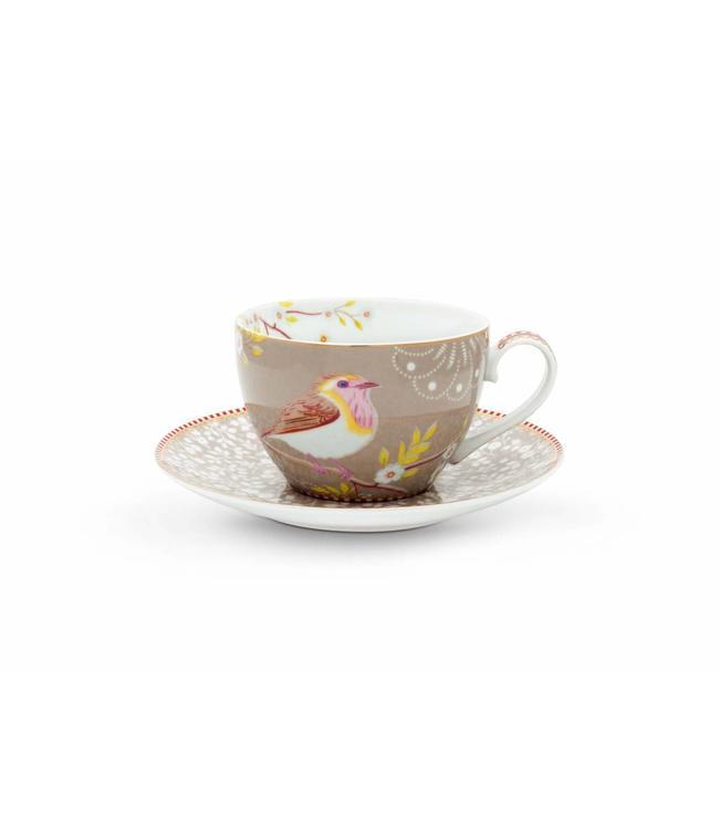 Cappuccino kop en schotel Hummingbird Khaki