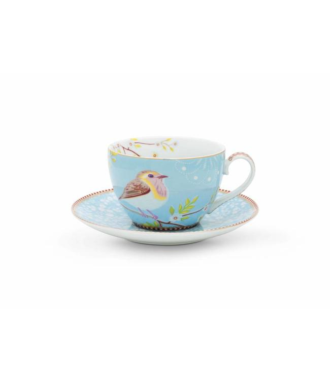 Cappuccino kop en schotel Hummingbird Blauw