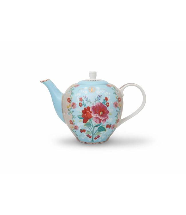 Floral theepot Rose groot Blauw