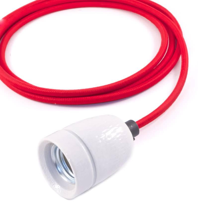 Het Lichtlab No.1 hanglamp met rood strijkijzersnoer