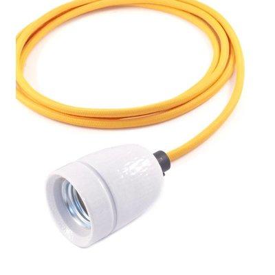No.1 hanglamp met okergeel strijkijzersnoer