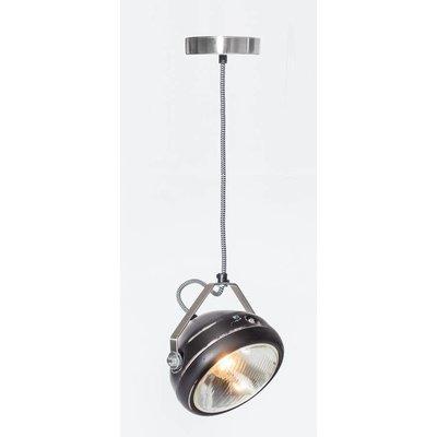 Het Lichtlab No.5 hanglamp koplamp zwart geschuurd