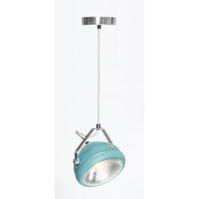 No.5 hanglamp koplamp aqua geschuurd