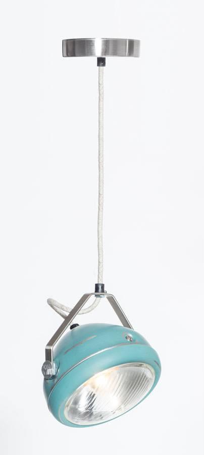 Het Lichtlab No.5 hanglamp koplamp aqua geschuurd