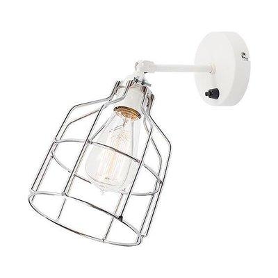 No.15 wandlamp wit met zilveren kooi