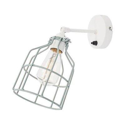 No.15 wandlamp wit met dusty-mint kooi
