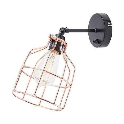 No.15 wandlamp zwart met koperen kooi