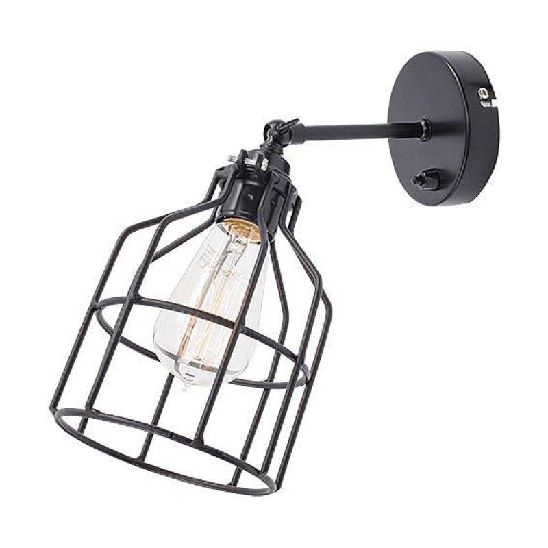 Het Lichtlab No.15 wandlamp zwart met zwarte kooi