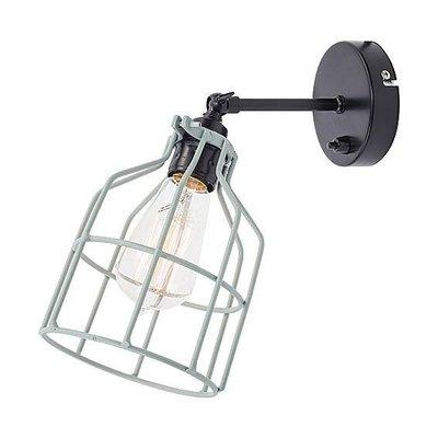 No.15 wandlamp zwart met dusty-mint kooi