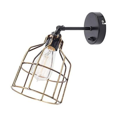 Het Lichtlab No.15 wandlamp zwart met bronzen kooi
