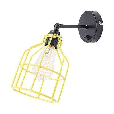 No.15 wandlamp zwart met gele kooi